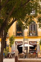Outdoor Cafes, Plaza de la Merced, Malaga, Spain by Walter Bibikow - various sizes - $45.99