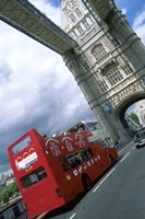 Tower Bridge with Double-Decker Bus, London, England Fine Art Print