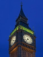 Famous Big Ben Clock Tower illuminated at dusk, London, England by Jaynes Gallery - various sizes