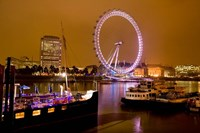 England, London River Thames and London Eye Fine Art Print