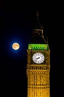 London, Big Ben Clock tower, the moon Fine Art Print
