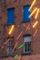 Warehouse Decorated with Neon Art, Southbank, London, England by Walter Bibikow - various sizes
