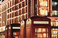 Lit Telephone booth at Harrods, Knightsbridge, London, England by Walter Bibikow - various sizes