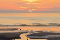 Sunset and beach, Blackpool, England Fine Art Print