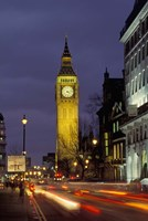 Big Ben at night with traffic, London, England Fine Art Print