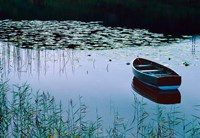 Rowboat on Lake Surrounded by Water Lilies, Lake District National Park, England Fine Art Print