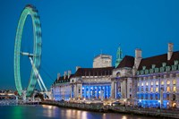 London Eye, River Thames, London, England Fine Art Print