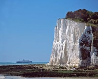 England, County Kent, White Cliffs of Dover, Ship Fine Art Print