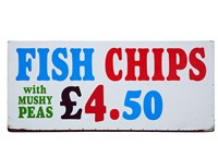 Fish and Chips with Mushy Peas sign, England, United Kingdom by David Wall - various sizes