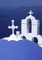 Dome and Crosses of Greek Church, Santorini, Greece Fine Art Print