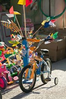Bicycle Outside Toy Shop, Lesvos, Mytilini, Aegean Islands, Greece Fine Art Print