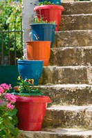 Staircase with Flower Planters, Fiskardo, Kefalonia, Ionian Islands, Greece Fine Art Print