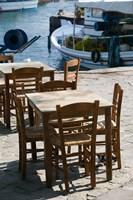 Waterfront Cafe Tables, Skala Sykaminia, Lesvos, Mithymna, Northeastern Aegean Islands, Greece Fine Art Print