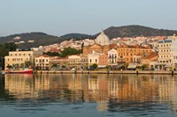 Waterfront View of Southern Harbor, Lesvos, Mithymna, Northeastern Aegean Islands, Greece Fine Art Print