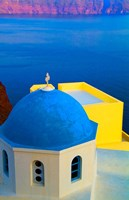 Beautiful Church with Blue Roof, Oia, Santorini, Greece Fine Art Print