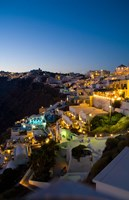 White Buildings at Night, Fira, Santorini, Greece by Bill Bachmann - various sizes, FulcrumGallery.com brand