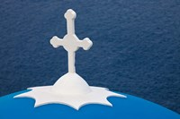 Church with blue dome and white cross in village of Firostefani, Santorini, Greece Fine Art Print