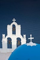 Greece, Santorini, Firostefani, Bell Tower, Domes Fine Art Print