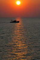 Greece, Crete, Aegean sunset, Fishing Boat Fine Art Print