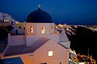 Evening Light on Church, Imerovigli, Santorini, Greece by Darrell Gulin - various sizes