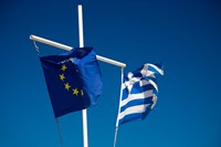 Greece, Mykonos, Hora harbor, Union and Greek Flags by Darrell Gulin - various sizes