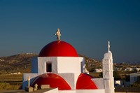 Greece, Mykonos, Red Dome Church Chapels Fine Art Print