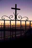 Greece, Santorini, Fira, iron cross, Christianity Fine Art Print