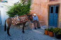 Resting Elderly Gentleman, Oia, Santorini, Greece Fine Art Print