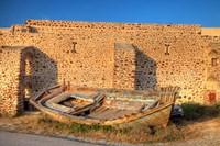 Old fishing boat on dry land, Oia, Santorini, Greece Fine Art Print