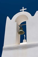 Church Bell Tower against Dark Blue Sky, Santorini, Greece Fine Art Print