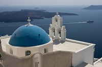 Greek Orthodox Church and Aegean Sea, Santorini, Greece Fine Art Print