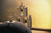 Seaside church tower with bell, Santorini, Greece by Walter Bibikow - various sizes