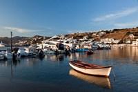 Boats in harbor, Chora, Mykonos, Greece Fine Art Print