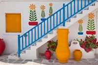 Flowers and colorful pots, Chora, Mykonos, Greece Fine Art Print