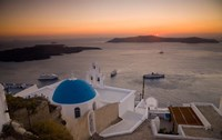 Blue Domed Church and Bell Tower, Fira, Santorini, Greece by Darrell Gulin - various sizes