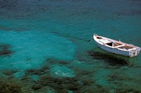 Boat in Harbor, Lakonian Mani, Areolopi, Peloponnese, Greece by Walter Bibikow - various sizes - $41.49