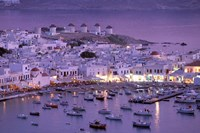 Overview of Mykonos Town harbor, Mykonos, Cyclades Islands, Greece Fine Art Print