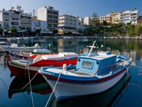 Boats on The Lake, Agios Nikolaos, Crete, Greece Fine Art Print