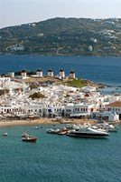 Greece, Mykonos, Chora, Inner Harbor of Mykonos Fine Art Print