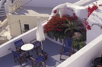 Patio of Hotel Between Fira and Imerovigli, Greece Fine Art Print