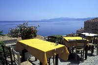 Outdoor Restaurant, Monemvasia, Greece by Connie Ricca - various sizes - $42.49