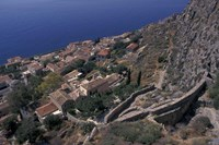 View from Upper to Lower Village, Monemvasia, Greece Fine Art Print