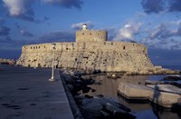 Fort St Nicholas and Mandraki Harbor, Rhodes, Greece Fine Art Print