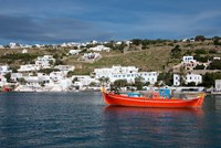 Greece, Cyclades, Mykonos, Hora Harbor view with Greek fishing boat by Cindy Miller Hopkins - various sizes, FulcrumGallery.com brand