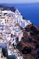 White Buildings in Oia Santorini, Athens, Greece Fine Art Print