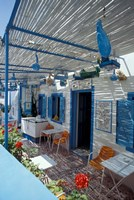 Breakfast Bar with Bird Cages, Thira, Cyclades Islands, Greece by Michele Molinari - various sizes