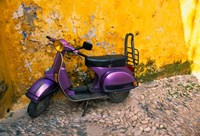 Vespa and Yellow Wall in Old Town, Rhodes, Greece Fine Art Print