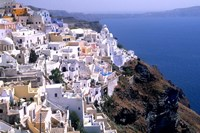 Mountains with Cliffside White Buildings in Santorini, Greece Fine Art Print