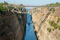 Greece, Corinth Boat in Corinth Canal by Cindy Miller Hopkins - various sizes