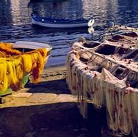 Greece, Mykonos Fishing Nets on Boats Fine Art Print